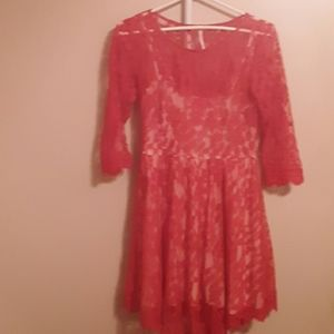 FREE PEOPLE RED FIT AND FLARE LACE SHEER  DRESS 4